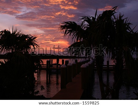 Beautiful sunset in the Florida Keys from the dock - stock photo