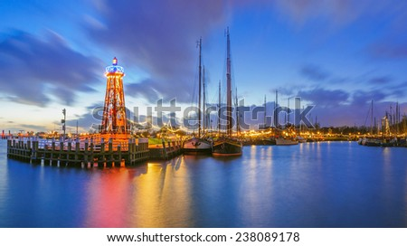 Beautiful sunset in the harbor of Enkhuizen, Netherlands - stock photo