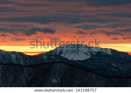 beautiful sunset in the mountains for tourists