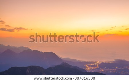 beautiful sunset in the mountains, Kemer - stock photo