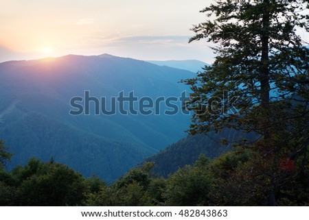 Beautiful sunset in the Ranca carpathians mountains