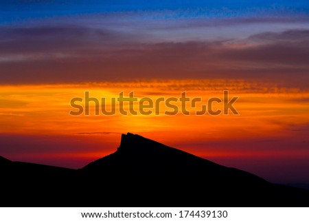 beautiful sunset in the summer  landscape of the mountain