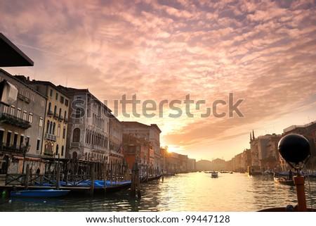 Beautiful sunset in water street - stock photo