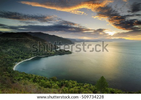 beautiful sunset Lake Toba north Sumatra Indonesia
