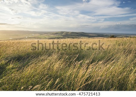 Beautiful sunset landscape image over English rolling countryside