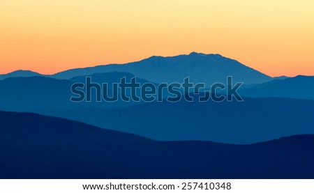 Beautiful sunset light in the spanish mountains (Serra d Entreperes) - stock photo