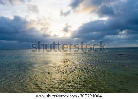 Beautiful sunset of the sea, Okinawa, Japan - stock photo