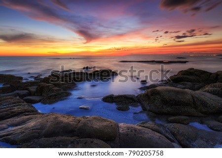 Beautiful sunset of the sea with sky and cloud in twilight time
