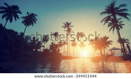 Beautiful sunset on a tropical beach.
