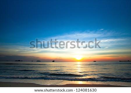 Beautiful sunset on coast of Chang island in the Siam Gulf - stock photo