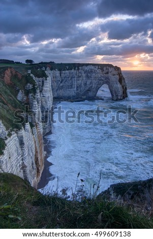 Beautiful sunset on Etretat, in Normandy, France.