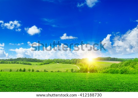 Beautiful sunset on green field - stock photo