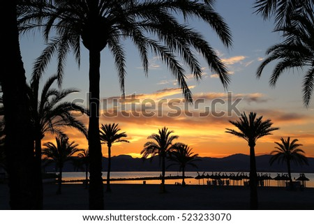 Beautiful sunset on the beach, Balearic Islands, Mallorca (Majorca), Spain