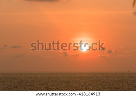 Beautiful sunset on the beach with view of sea