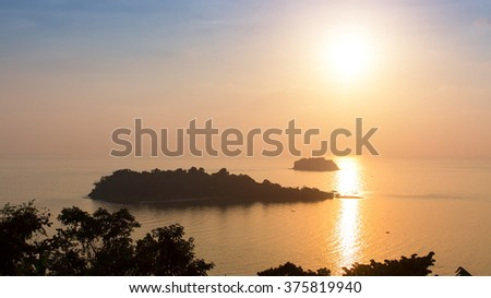 Beautiful sunset on the Koh Chang island, Thailand. - stock photo