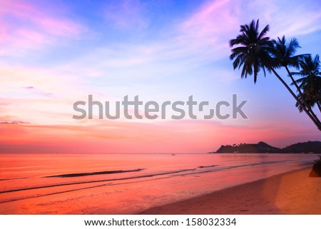Beautiful sunset on the ocean, natural composition. - stock photo