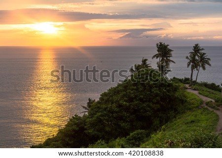 Beautiful Sunset on view point in Lombok - stock photo