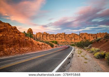 Beautiful sunset over Arches National Park, Utah. - stock photo