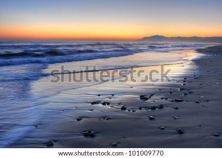 Beautiful sunset over Costa del Sol. - stock photo