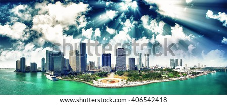 Beautiful sunset over Downtown Miami, aerial view. - stock photo