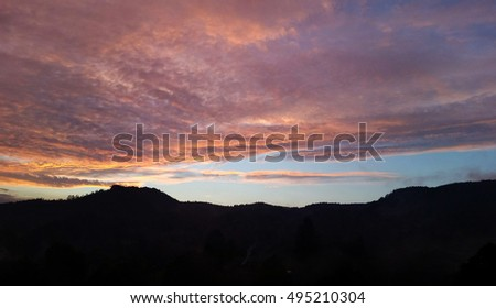 Beautiful sunset over hills
