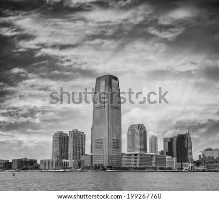 Beautiful sunset over Jersey City, New Jersey. - stock photo