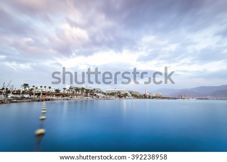 Beautiful sunset over Red Sea in Eilat, Israel, Middle East - stock photo
