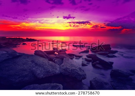 Beautiful sunset over sea - stock photo