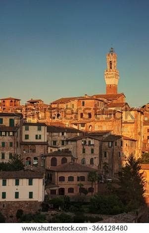 Beautiful sunset over Siena, Tuscany, Italy - stock photo