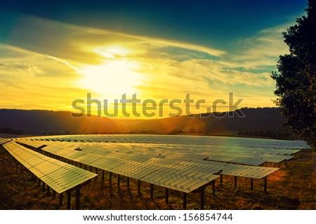 Beautiful sunset over solar energy field  - stock photo