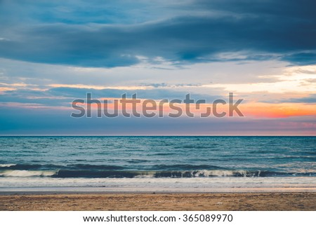 Beautiful sunset over the horizon in the sea, Phetchaburi Province, Thailand. Vintage effect style pictures - stock photo