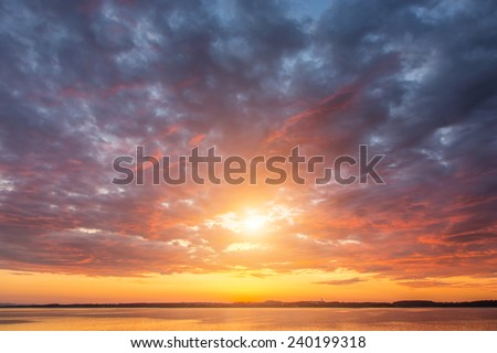Beautiful sunset over the lake Alps Austria - stock photo