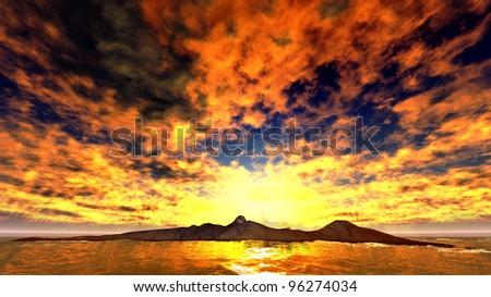 Beautiful sunset over the ocean - stock photo