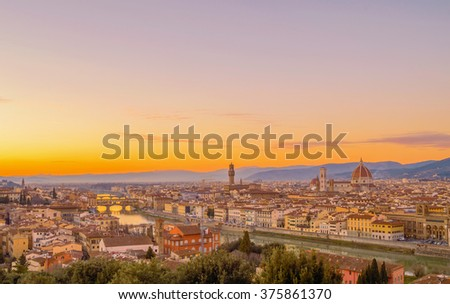 Beautiful sunset over the panorama of Florence, Tuscany (Italy), with the Cathedral and the Old Bridge (Ponte Vecchio)