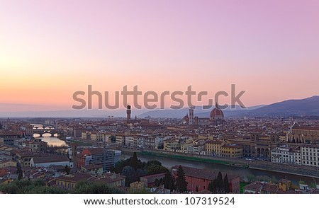 Beautiful sunset over the river Arno in Florence, Italy