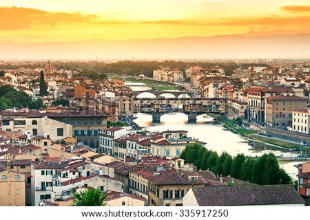 Beautiful sunset over the river Arno in Florence, Italy - stock photo