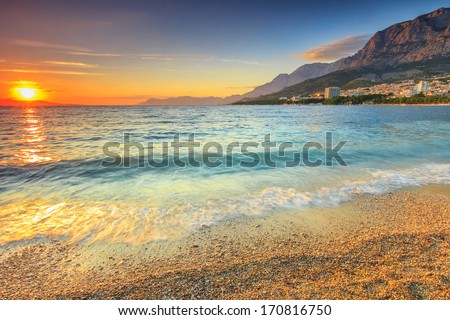 Beautiful sunset over the sea,Makarska,Croatia - stock photo