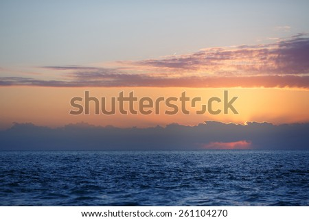 Beautiful sunset over water on Key West, Florida, USA - stock photo