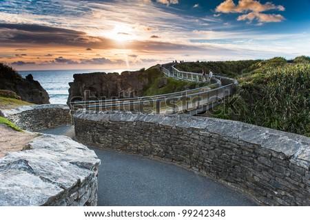 Beautiful Sunset scene at Greymount, New Zealand - stock photo