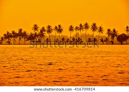 beautiful sunset scene of backwaters Kerala with silhouette of palm trees, travel background, India - stock photo