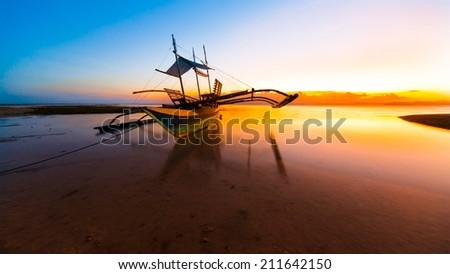 beautiful sunset sea on the Philippine island - stock photo