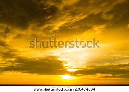 Beautiful sunset sky at golden time - stock photo