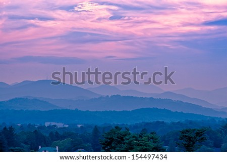Beautiful sunset sky at the mountains landscape.  Blue Ridge Mountains, North Carolina, USA - stock photo