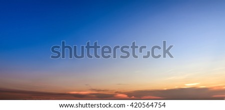 Beautiful sunset sky background - stock photo