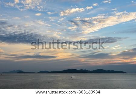 Beautiful sunset sky on Andaman sea in Ranong, Thailand - stock photo