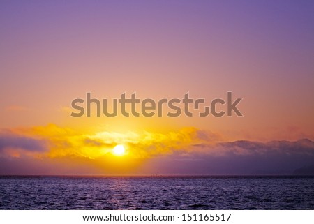 beautiful sunset sky over ocean