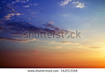 Beautiful sunset sky. Sky Background.  - stock photo