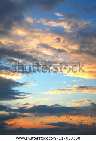 beautiful sunset sky with clouds - stock photo