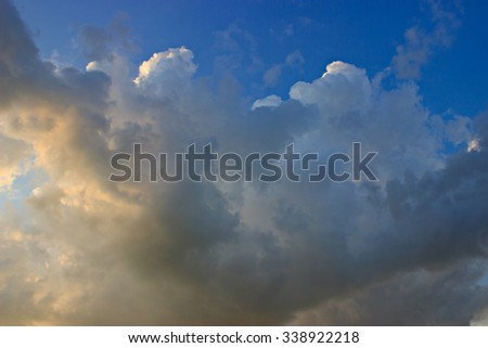 beautiful sunset sky with clouds, can be used as a background.