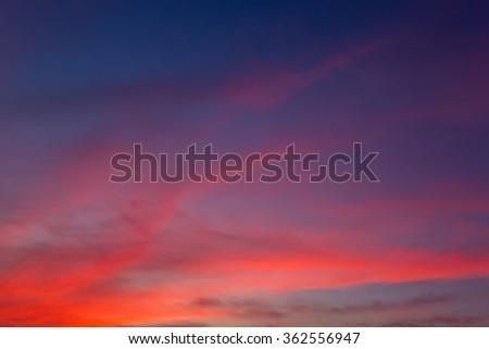 Beautiful sunset / sunrise sky with clouds
